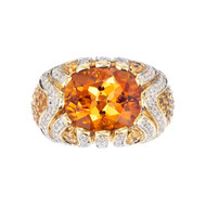 Orange Citrine Diamond Sapphire Two-Tone Gold Dome Ariel Design Cocktail Ring