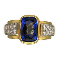 Estate 18k Gold & Platinum 4.0ct Gem Purple Tanzanite, Pave Set Diamond Ring