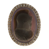 Antique Estate Victorian Carved Hardstone Cameo 14k Rose Gold Ring .50ct Diamond