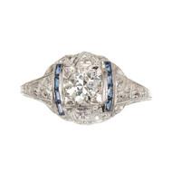 Art Deco 18k Gold Filigree Engraved Domed Diamond .76CT Sapphire Ring
