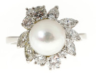 Silver White 9mm AAA Cultured Pearl Marquise Round Diamond 18k Ring Size 7 3/4