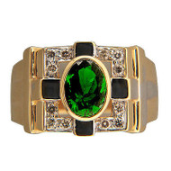 Vintage 1.25ct Fine Green Oval Tourmaline 14k Yellow Gold Full Cut Diamond Ring