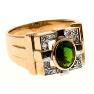 Vintage 1.25ct Fine Green Oval Tourmaline 14k Yellow Gold Full Cut Diamond Ring