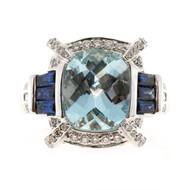 Vintage Charles Krypell 3.69ct Aqua Sapphire 18k Baguette Round Diamond Ring