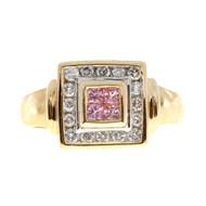Vintage .30ct Square Pink Tourmaline .32ct Diamond 14k Yellow Gold Ring