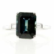 Vintage Estate 5.37ct Natural No Heat Blue Green Art Deco Platinum Sapphire Ring