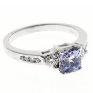 Vintage 1.37ct Natural No Heat Asscher Blue Violet Sapphire 14k White Gold Ring