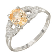 Vintage 1.21ct Natural Light Yellow Orange Sapphire Deco Platinum Diamond Ring