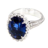 Blue Oval Sapphire Diamond Ring
