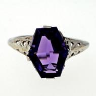 Antique Art Deco Filigree 2.50ct Amethyst 14k White Gold Ring
