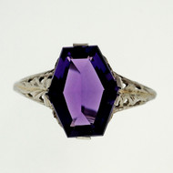 Antique Art Deco Filigree 2.50ct Amethyst 14k White Gold Ring