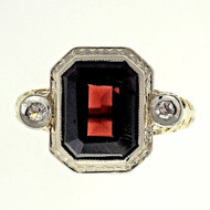 Antique Art Deco 1940Filigree 2.00ct Red Garnet Diamond 14k Gold Ring