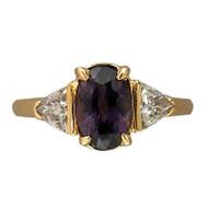 Vintage 2.38ct Natural Purple Brown Sapphire .45ct Trilliant Diamond 18k Ring