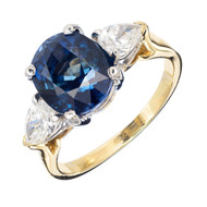 4.35ct Natural Royal Blue Sapphire .66ct Pear Diamond 18k Platinum Ring