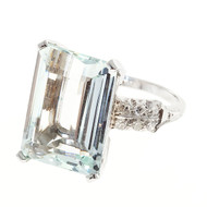 Natural Aquamarine Diamond Platinum Ring c1920