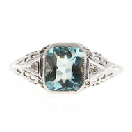 Vintage 1.58ct. Asscher Cut Aqua Art Deco 14k White Gold Filigree Ring