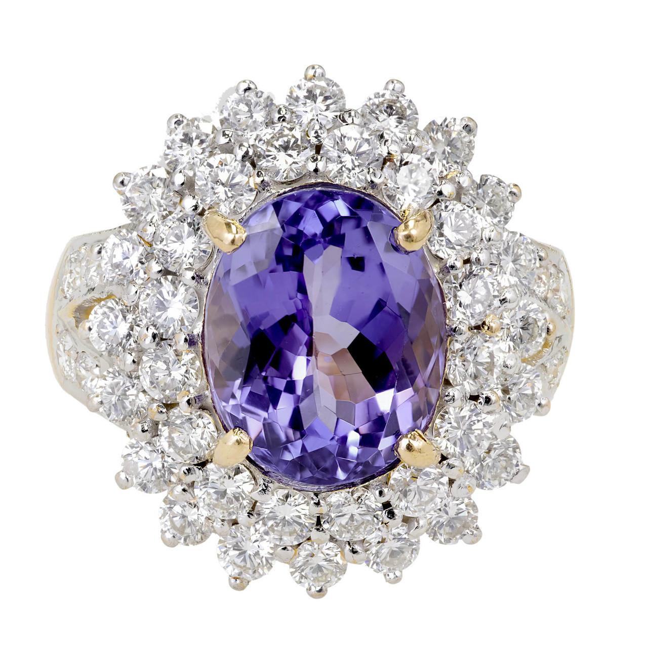 Lavender Tanzanite: Vintage 5.17ct Oval Purple Blue Tanzanite 2.15ct Diamond