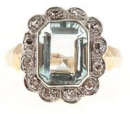 Vintage Art Deco 14k Pink Gold Palladium 2.00ct Aqua .15ct Diamond Ring