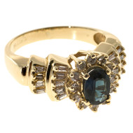 Vintage 1.00ct Oval Blue Sapphire Round Baguette Diamond Cluster Ring