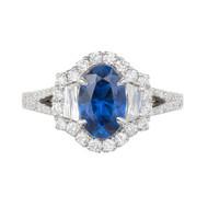 Peter Suchy 1.82 Carat Sapphire Diamond Halo Gold Ring