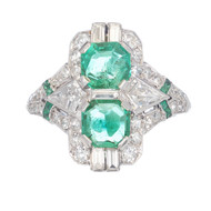 Art Deco 1.20ct Asscher Emerald Diamond Platinum Engagement Ring
