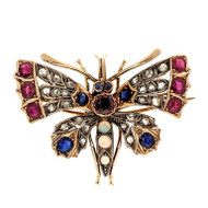 Antique Victorian Moth Pin 3.65ct Ruby Sapphire Diamond Opal Pink Gold Pin