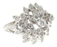 Estate 1950s 14k White Gold Hurricane Design Diamond Dome Ring Swirling Dirvish