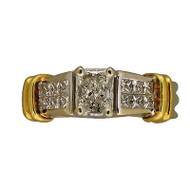 Vintage Estate .81ct Radiant Princess Cut Diamond Platinum 18k Gold Accent Ring
