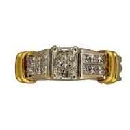 Vintage Estate .81ct Radiant Princess Cut Diamond Platinum 18k Gold Accent Ring