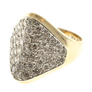 Estate Tapered 47 Pave Set Diamond Center 14k 2 Tone Gold Dome Ring