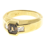 Estate 18k Yellow Gold Natural Orange Brown Asscher & 2 Emerald Cut Diamond Ring