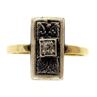 Antique Victorian 14k Rose Gold Silver Top Ring .06ct European Cut Diamond