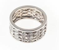 Estate 1950 3 Row Wide Marquise & Round Diamond Platinum Eternity Ring