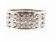 Estate 1950 3 Row Wide Marquise & Round Diamond Platinum Eternity Ring