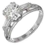 1.51ct European Ideal Diamond Baguette 14k White Gold Engagement Ring