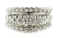 Art Deco Wedding Band Three Row .80ct Diamond 14k White Gold Ring