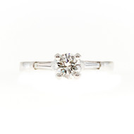 Estate 1950'S Solid Platinum .56ct G, Vs2 Round Diamond Baguette Engagement Ring