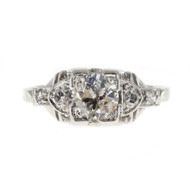 Art Deco Engagement Ring .65ct Platinum Diamond Vintage Ring