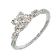 Antique Art Deco Engagement .80ct Old European Cut Diamond Platinum Ring