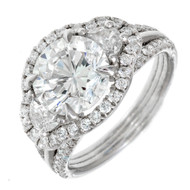 Peter Suchy 3.40ct Brilliant Diamond Platinum Three-Stone Engagement Ring