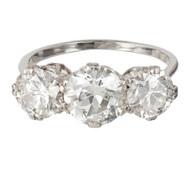 Vintage Art Deco 14k white gold 1.65ct Diamond 3 Stone Ring 1.71ct Side Diamonds