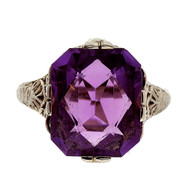 Vintage Art Deco Filigree 14k White Gold 4.25ct Asscher Cut Amethyst Ring