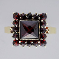 Art Deco Estate Square 14k Garnet Rose Cut Ring