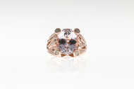 Vintage Sonia B 8.0ct Purplish Pink Kunzite 14k Pink Gold .65ct Diamond Ring