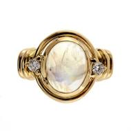 Vintage Retro 1940 14k Yellow Gold 3.23ct Blue Rainbow Moonstone Diamond Ring