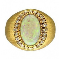 Estate 18k Large Fine Cabochon Opal Center And Full Cut Diamond Surround Ring