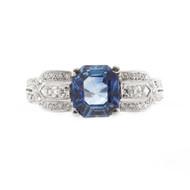 Estate Platinum Art Deco Asscher Cut Ceylon Sapphire French Cut Diamond Ring