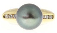 Vintage 18k Gold 10.5mm Tahitian Black South Sea Pearl Channel Set Diamond Ring