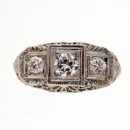 Antique Art Deco Filigree 3 Stone Diamond Ring .48ct 18k White Gold