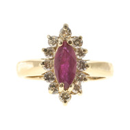Estate .75ct Red Marquise Ruby & Round Full Cut Diamond 14k Yellow Gold Ring